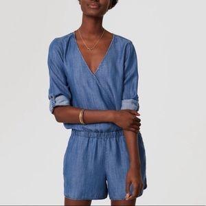 LOFT Long Sleeve Shorts Romper 0P 0 Petite EUC